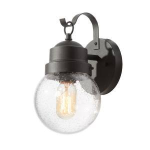 Greet 1-Light Matte Black Outdoor/Exterior Wall Lantern Sconce with Seeded Glass Shade
