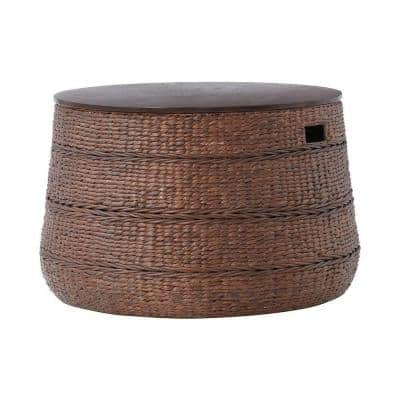 Kerala 32 in. Brown Medium Round Wood Coffee Table with Lift Top