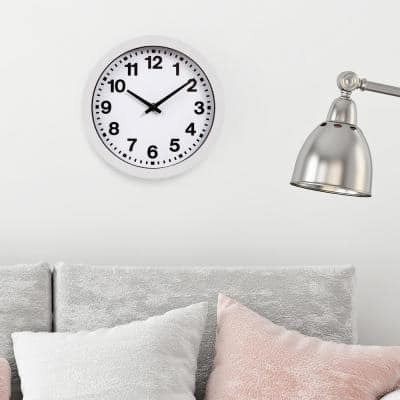 White Bold Numbers Wall Clock