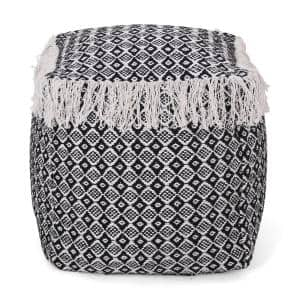Royce Black and White Fabric Cube Pouf
