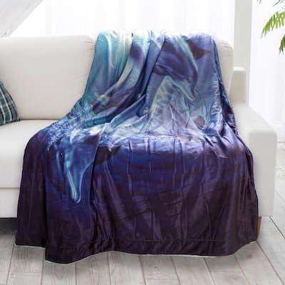 Ocean Dolphin Print Sherpa Fleece Blanket