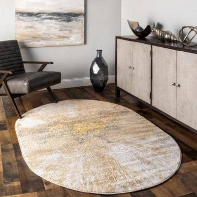 Contemporary Cyn Gold 6 ft. 7 in. x 9 ft. Oval Abstract Rug