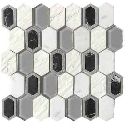 Literati Twain 12.0 in. x 12.0 in. x 8mm Cast Stone Mesh-Mounted Mosaic Tile (1.0 sq. ft.)