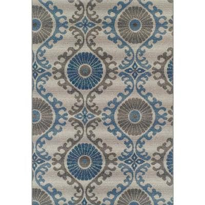 Tucson 2 Ikat Trellis Silver 8 ft. 2 in. x 10 ft. Area Rug