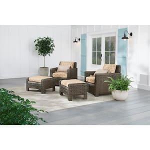 Laguna Point Brown Wicker Outdoor Patio Ottoman with CushionGuard Toffee Trellis Tan Cushions (2-Pack)