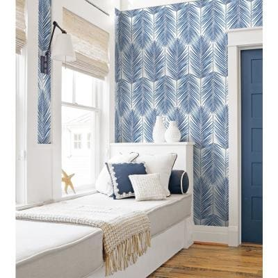 Ripon, Coastal Blue Paradise Palm 18 in. x 20.5 in. Peel and Stick Wallpaper