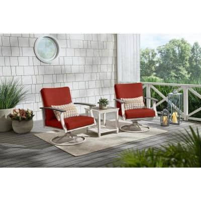 Marina Point White Steel Outdoor Patio Swivel Lounge Chair with Sunbrella Henna Red Cushions (2-Pack)