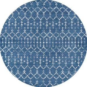 Moroccan Hype Boho Vintage Diamond Blue/White 5 ft. Round Area Rug