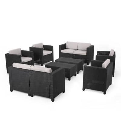 Waverly Dark Grey 8-Piece Faux Wicker Patio Conversation Set with Grey Cushions