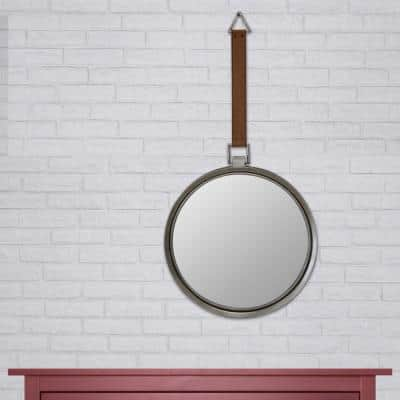 Medium Round Brown Casual Mirror (32.874 in. H x 16.693 in. W)