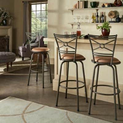 24-29 in. H Adjustable Bronze Circular Center Criss Cross Back 3-Piece Pack Stools