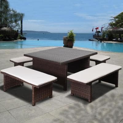 Atlantic Bellagio 5-Piece Synthetic Wicker Square Patio Dining Set with Off White Cushions
