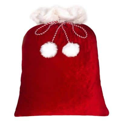 42 in. Red and White Classic Christmas Santa Bag