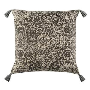 Sidonia Gray/Cream 16 in. x 16 in. Throw Pillow