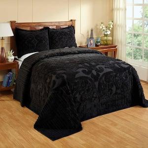 Ashton Collection in Medallion Design Black Queen 100% Cotton Tufted Chenille Bedspread