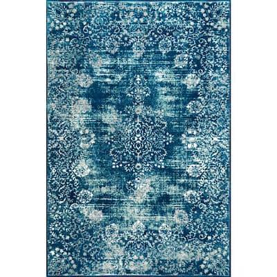 Lacy Vintage Floral Blue 9 ft. x 12 ft. Area Rug
