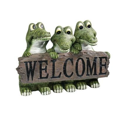 8 in. H Ragin Cajun Crocodile Welcome Statue
