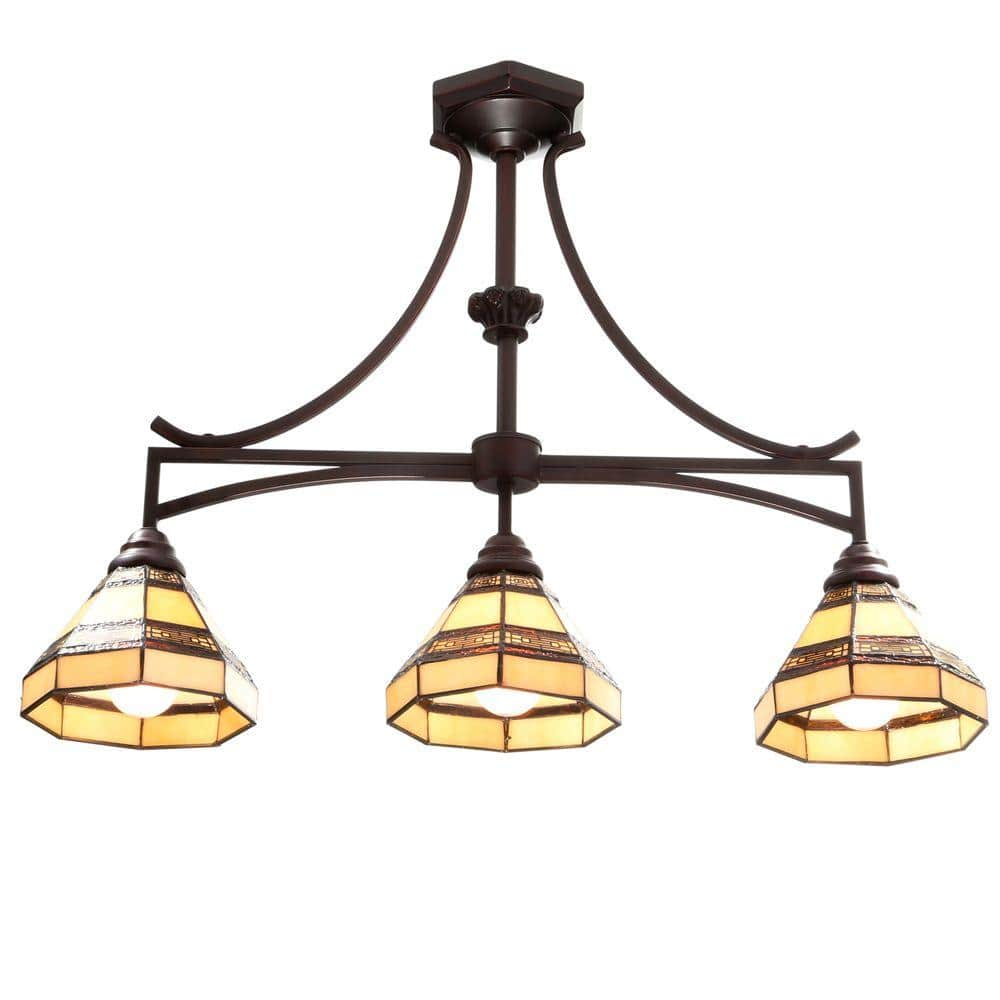 Hampton Bay Addison 9 Light Oil Rubbed Bronze Kitchen Island Light with  Tiffany Style Stained Glass Shades 9   The Home Depot