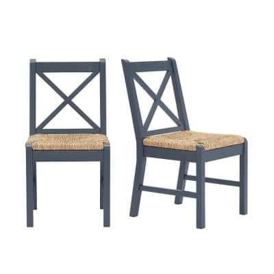 Dorsey Midnight Blue Wood Dining Chair with Cross Back and Rush Seat (Set of 2) (17.72 in. W x 35.43 in. H)