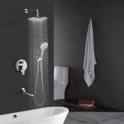 Single-Handle 3-Spray with 2.5 GPM 10 in. 3 Functions Tub and Shower Faucet in Chrome l (Valve Included)