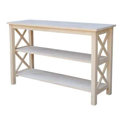 Hampton 48 in. Unfinished Standard Rectangle Wood Console Table with Shelves