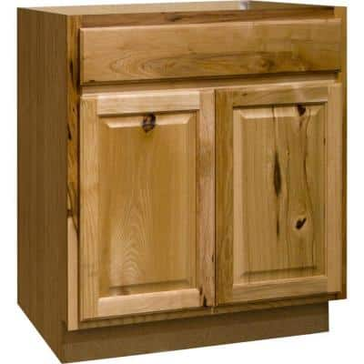 Hampton Natural Hickory Raised Panel Assembled Base Kitchen Cabinet with Drawer Glides (30 in. x 34.5 in. x 24 in.)
