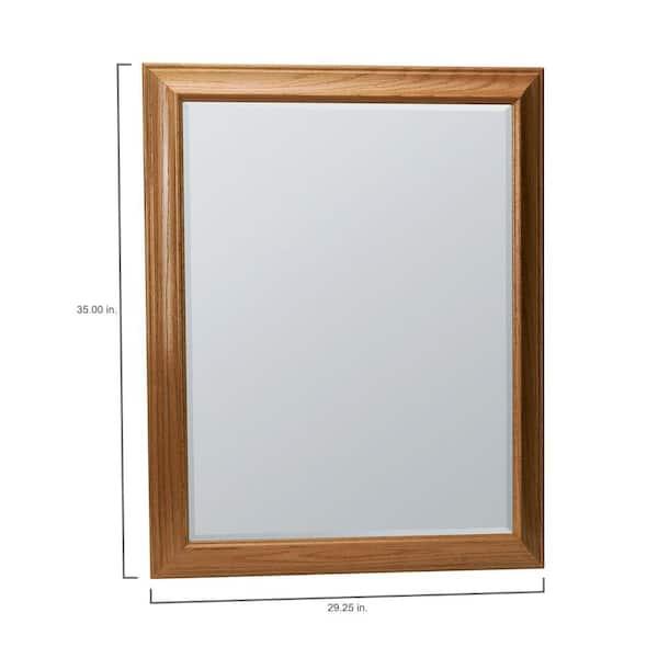 Glacier Bay Hampton 29 In X 35 In Framed Vanity Mirror In Oak Mag3036 Oa The Home Depot