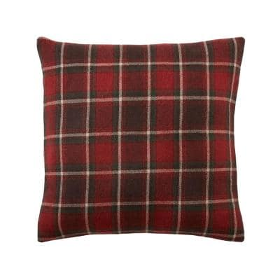 Red Plaid 18 in. x 18 in. Square Throw Pillow