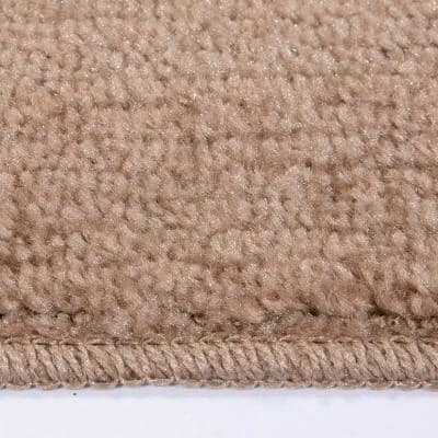 Softy Collection Beige 9 in. x 26 in. Rubber Back Stair Tread Cover (Set of 5)