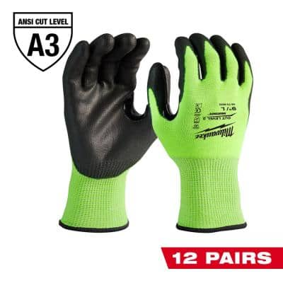 XX-Large High Visibility Level 3 Cut Resistant Polyurethane Dipped Work Gloves (12-Pack)