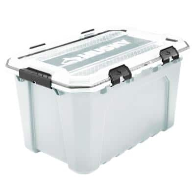 20-Gal. Professional Duty Waterproof Storage Container with Hinged Lid in White