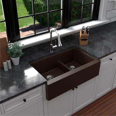 Farmhouse/Apron-Front Quartz Composite 34 in. Double Offset Bowl Kitchen Sink in Brown