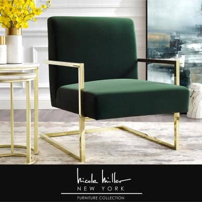 Konnor Green/Gold Velvet Accent Chair with Square Arm
