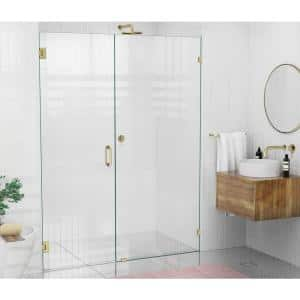 57.5 in. x 78 in. Frameless Wall Pivot/Hinged Shower Door in Satin Brass