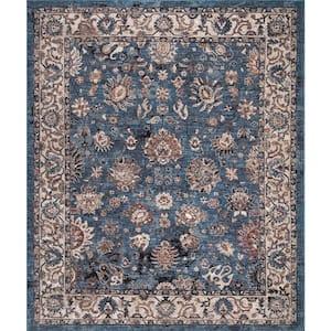 Gramercy Blue 8 ft. x 10 ft. Floral Area Rug