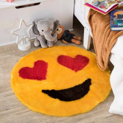 Heart Eyes Emoji Yellow  2 ft. x 2 ft. Luxuriously Soft and Eco Friendly Round Faux Fur Kids Play Area Rug