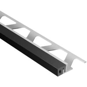 Schluter Systems Dilex Ksa Aluminum With Black Insert 5 16 In X 8 Ft 2 1 2 In Rubber And Metal Movement Joint Tile Edging Trim Aksa80gs The Home Depot