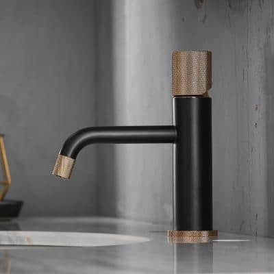 Single Hole Single-Handle Bathroom Faucet with Water Supply Lines in Matte Black and Rose Gold