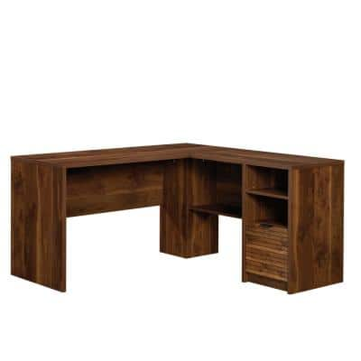 59 in. L-Shaped Grand Walnut 1 Drawer Secretary Desks with File Storage