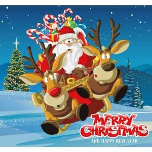 7 ft. x 8 ft. Santa's Take off-Outdoor Holiday 2-Car Split Garage Door Decor Mural for Split Car Garage, 2-Graphic Kit