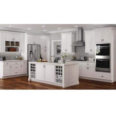 Hampton Satin White Raised Panel Stock Assembled Sink Base Kitchen Cabinet (36 in. x 34.5 in. x 24 in.)