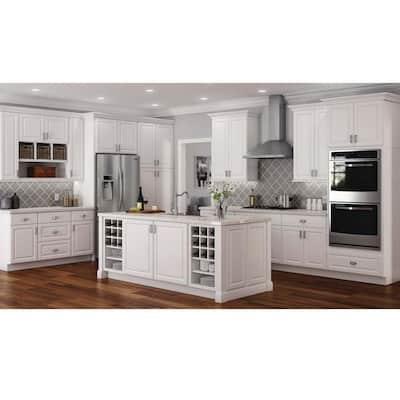 Hampton Satin White Raised Panel Stock Assembled Wall Bridge Kitchen Cabinet (30 in. x 12 in. x 12 in.)