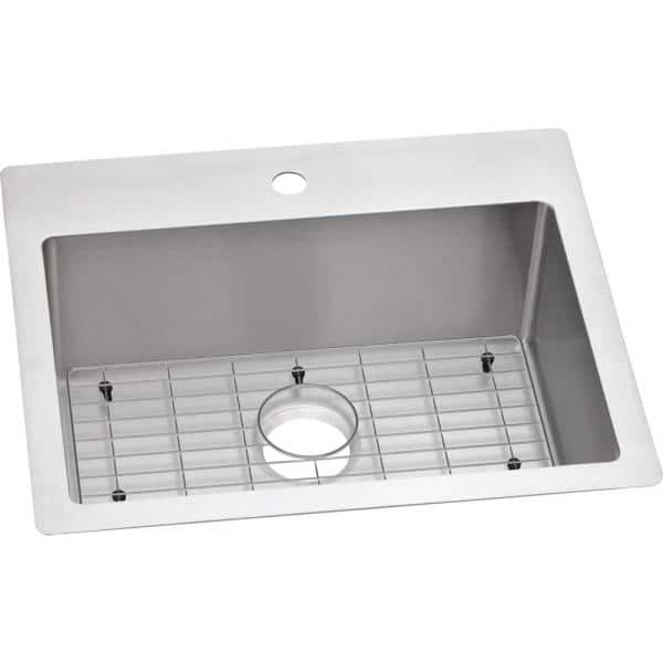 Elkay Crosstown Drop In Undermount Stainless Steel 25 In 1 Hole Single Bowl Kitchen Sink With Bottom Grid Ectsr25229tbg1 The Home Depot