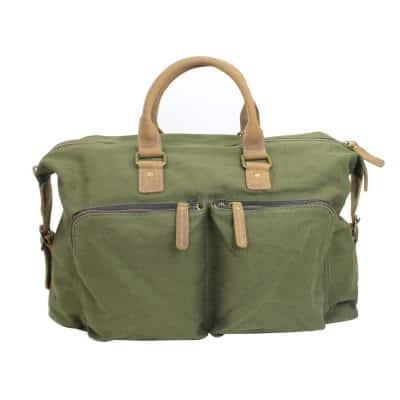 18.5 in. Classic Canvas with Full Grain Leather Carry-On Travel Duffel Bag