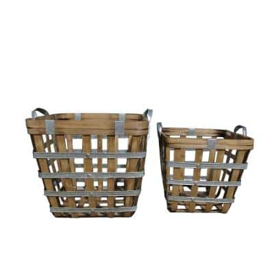 Square Wooden Baskets Natural/Silver (Set of 2)