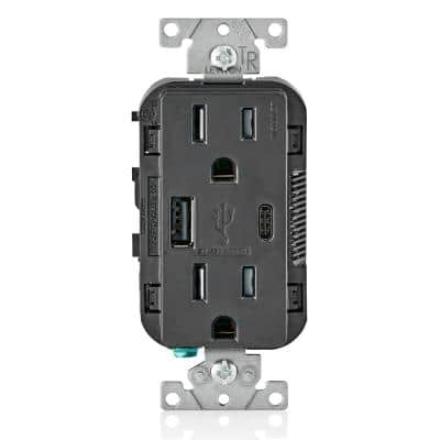 15 Amp Decora Type A and C USB Charger Tamper-Resistant Outlet, Black