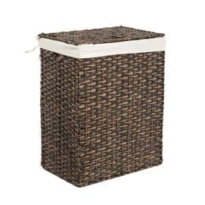 Lidded Rectangular Mocha Brown Collapsible Plastic Wicker Laundry Hamper Basket with Washable Liner