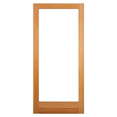32 in. x 80 in. Universal/Reversible Full Lite Clear Low-E Glass Unfinished Fir Wood Front Door Slab