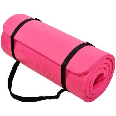 Multi-Purpose Pink 24 in. W x 68 in. L x 1/2 in. Thick Foam Exercise Yoga Mat with Carrying Strap (11.8 sq. ft.)