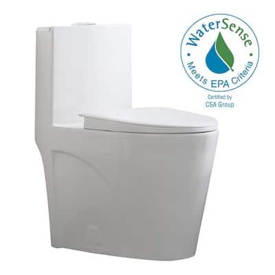 Buxton 1-Piece 1.6 GPF/1.1 GPF Dual Flush Elongated Toilet in White